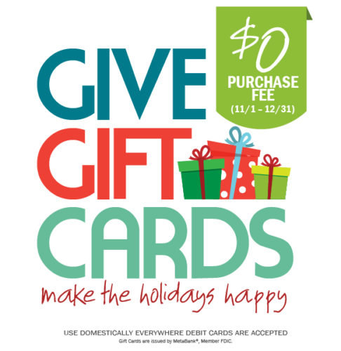 No Purchase Fee Gift Cards