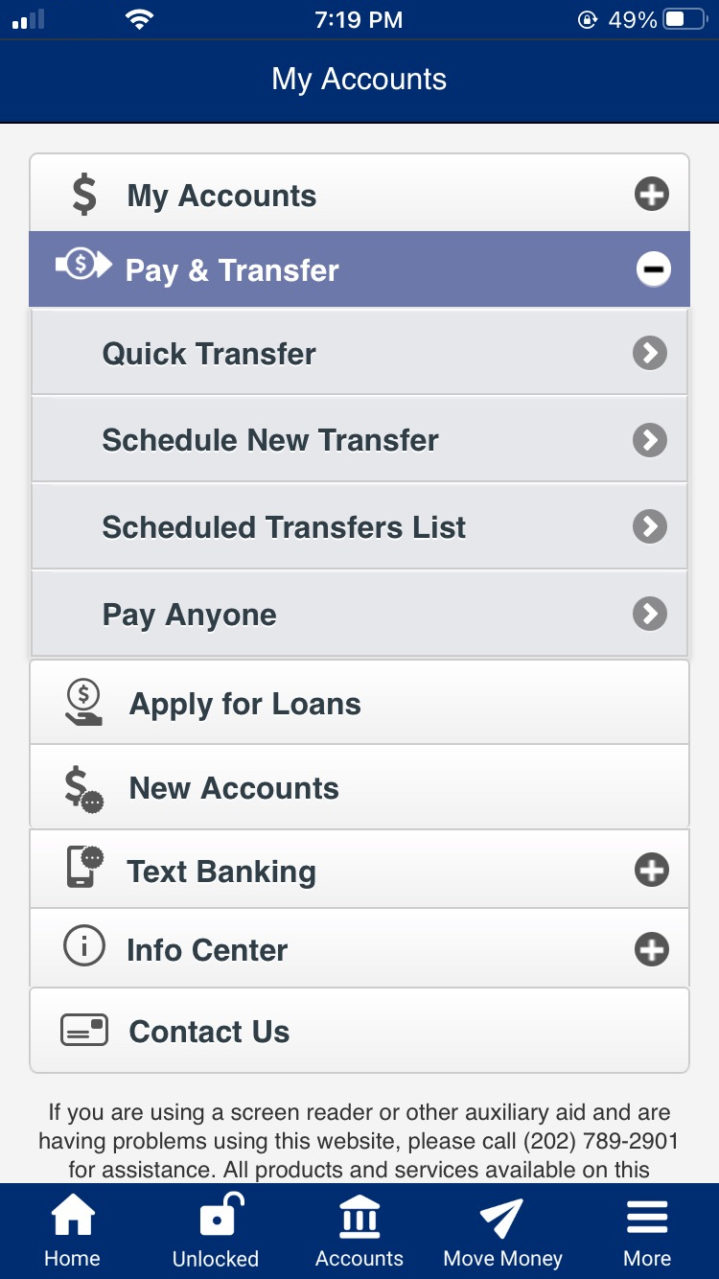 "Mobile App Pay Anyone - Select ""Pay & Transfer"""
